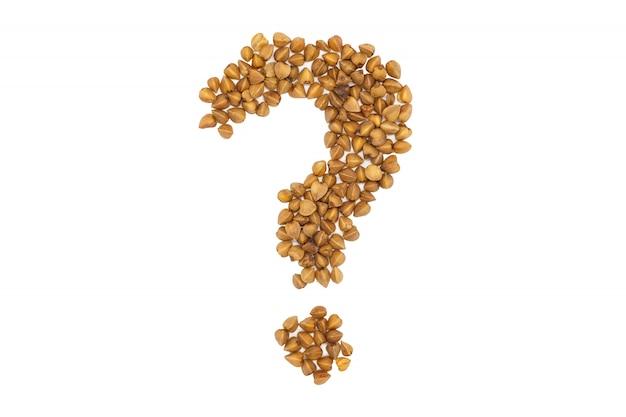Farina di grano saraceno, punto interrogativo a forma, da vicino, isolato.