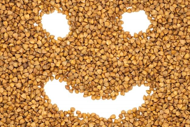 Farina di grano saraceno, sorriso buffo, da vicino.
