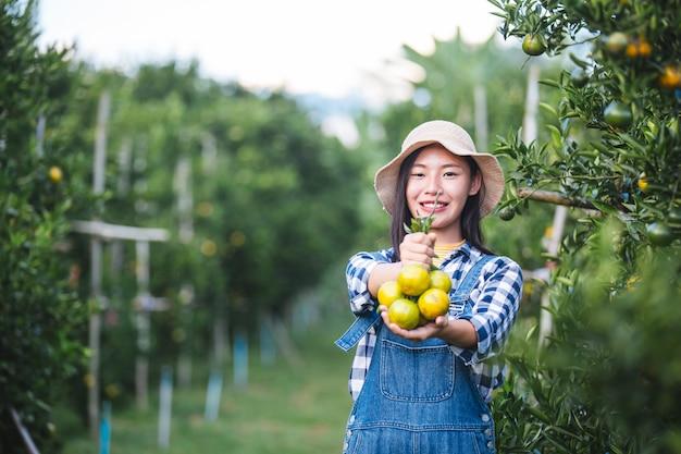 Farmer orange lady, i giardinieri stanno raccogliendo l'arancia, orange garden.