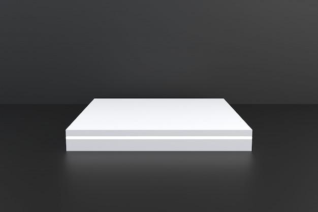 Fase astratta del piedistallo del quadrato bianco su fondo nero, podio bianco in bianco per il prodotto pubblicitario attuale
