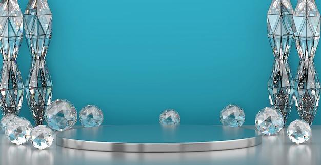 Fase blu di lusso astratta con la geometria delle gemme caustiche e palo, modello per la pubblicità del prodotto, rappresentazione 3d.