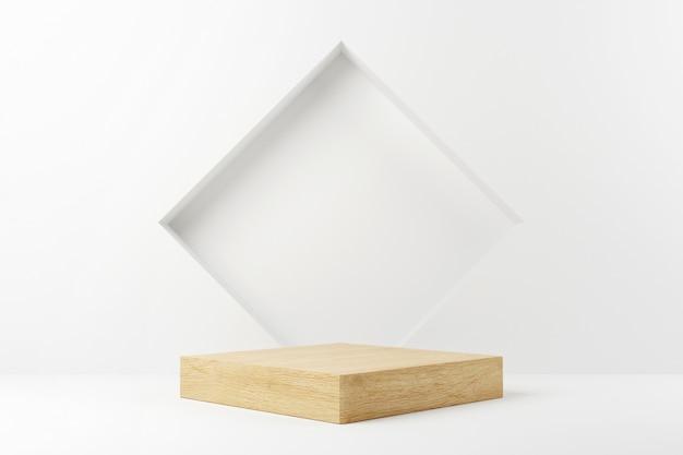 Fase del podio del cubo di legno nella priorità bassa bianca.