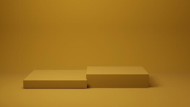 Fase o tavola gialla sulla parete per il prodotto attuale, rappresentazione 3d