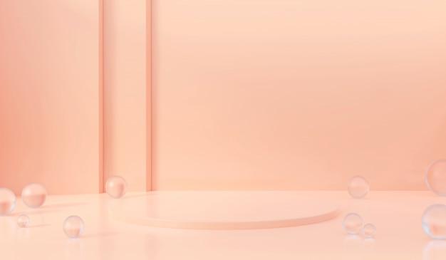 Fase rosa astratta, modello per la pubblicità del prodotto con la palla di vetro, rappresentazione 3d.