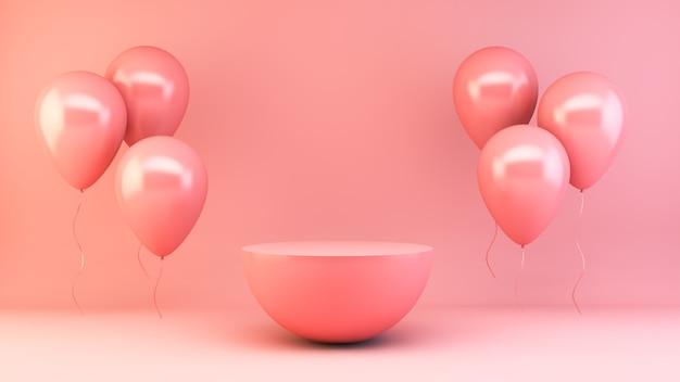Fase rosa con la rappresentazione degli aerostati 3d