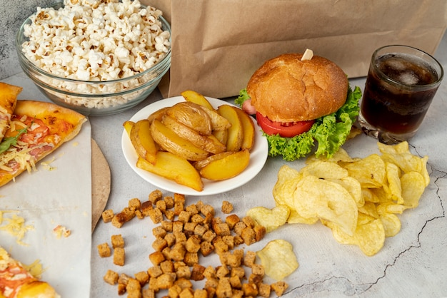 Fast food ad alta vista sul tavolo