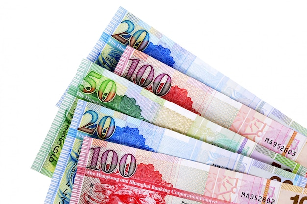 Fatture di valuta di hong kong isolate su bianco