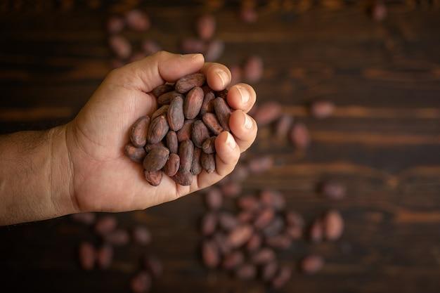 Fave di cacao a disposizione su vecchio fondo di legno naturale
