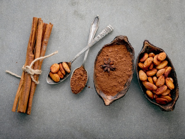Fave di cacao e fagioli di cacao su sfondo concreto.