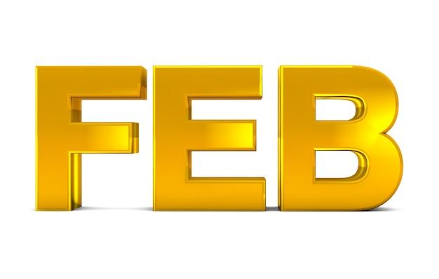 Febbraio oro testo 3d febbraio mese abbreviazione isolato su sfondo bianco. rendering 3d.
