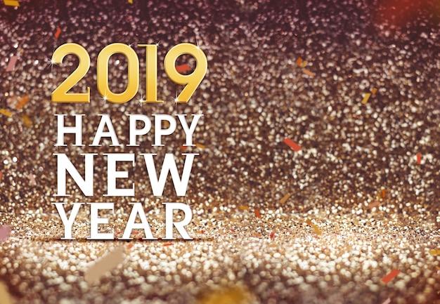 Felice anno nuovo 2019 in colore oro glitter astratto