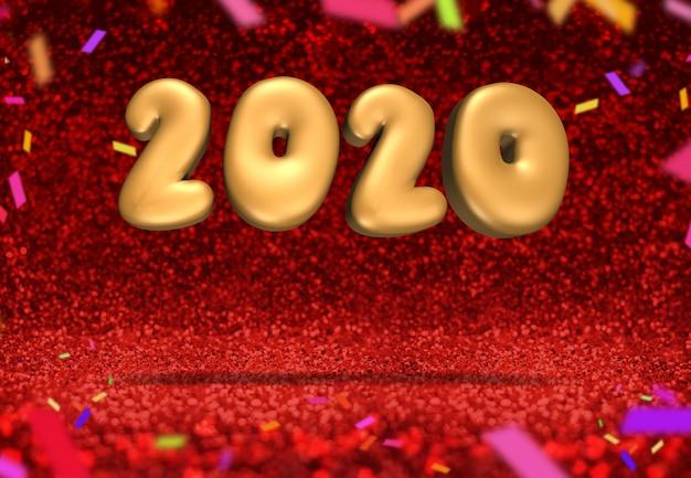 Felice anno nuovo 2020 a scintillio rosso scintillante con coriandoli colorati