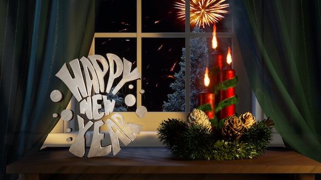 Felice anno nuovo con ornamenti candele tende nella finestra fuori conifere nevica
