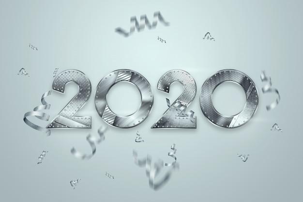 Felice anno nuovo, numeri metallici 2020 design su uno sfondo chiaro. buon natale