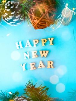 Felice anno nuovo sfondo. vista piana, vista dall'alto