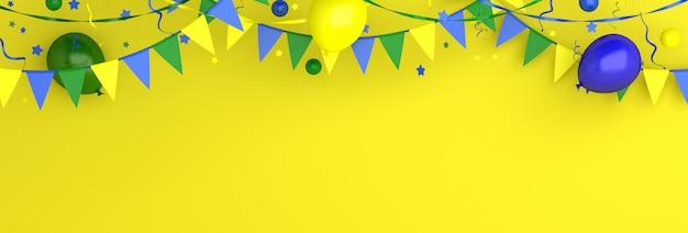 Felice festa dell'indipendenza del brasile sfondo decorazione con bandiera ghirlanda stamina di palloncino