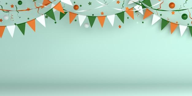 Felice festa dell'indipendenza dell'india o irlanda sfondo decorazione con bandiera ghirlanda di stamina
