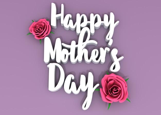 Felice festa della mamma testo 3d su un pavimento rosa e rose rosa