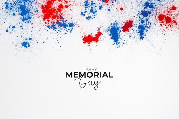 Felice giorno dei caduti sfondo per commemorare il giorno dell'indipendenza con scritte e schizzi di colore holi