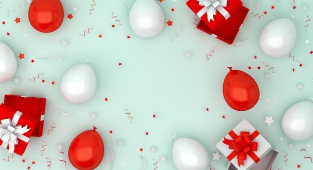 Felice giorno dell'indipendenza dell'indonesia o sfondo decorazione polland con palloncino e confezione regalo