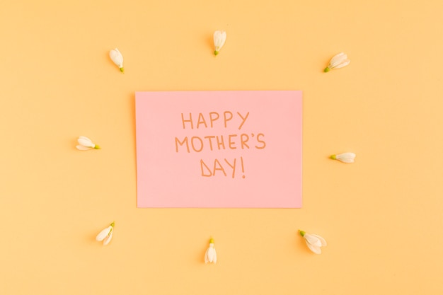 Felice giorno di madri congratulazioni su carta tra i fiori