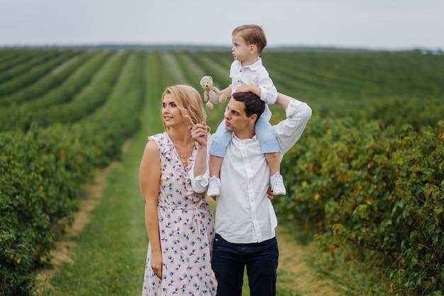Felice giovane famiglia papà, mamma e figlio piccolo sembra felice nel parco