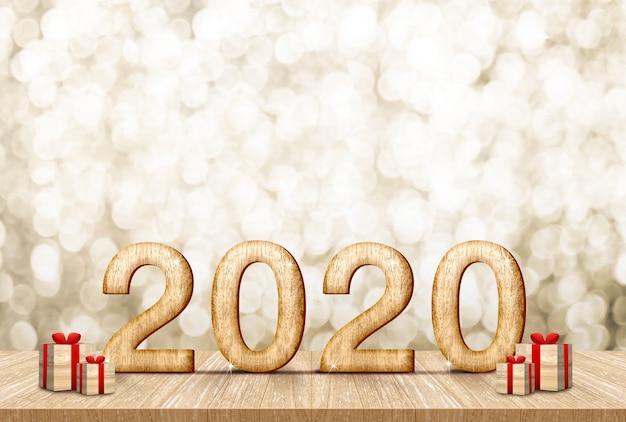 Felice nuovo anno 2020 con confezione regalo (rendering 3d) sul tavolo di legno della plancia alla scintilla dell'oro