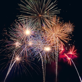 Felice nuovo anno 2020 con fuochi d'artificio sul buio