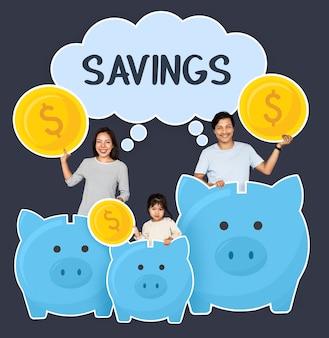 Felice risparmio familiare per il loro futuro