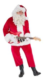 Felice santa suonando la chitarra elettrica