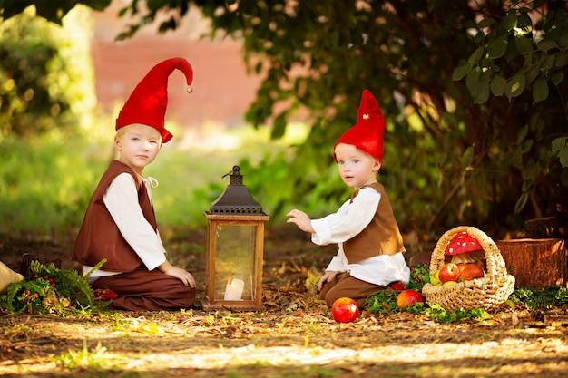 Felici gnomi dei boschi delle fate, i fratelli giocano e camminano nella foresta, raccolgono le mele