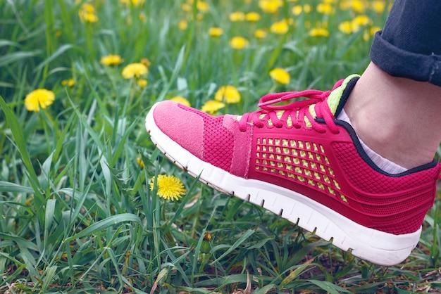 Femminile in scarpe da ginnastica sopra il fiore giallo del dente di leone, taraxacum, il concetto di conservazione della natura, ecologia e influenza dell'umanità