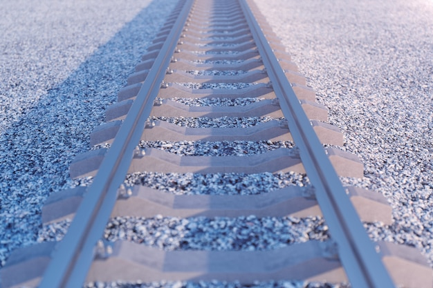 Ferrovia o ferrovia, ferrovia d'acciaio per i treni. viaggi in treno, turismo ferroviario. concetto di trasporto. illustrazione 3d