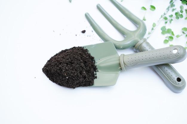 Fertilizzante del concime del verme su un cucchiaio verde per la piantatura degli alberi