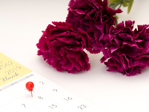 Festa della donna sul calendario con perno rosso.