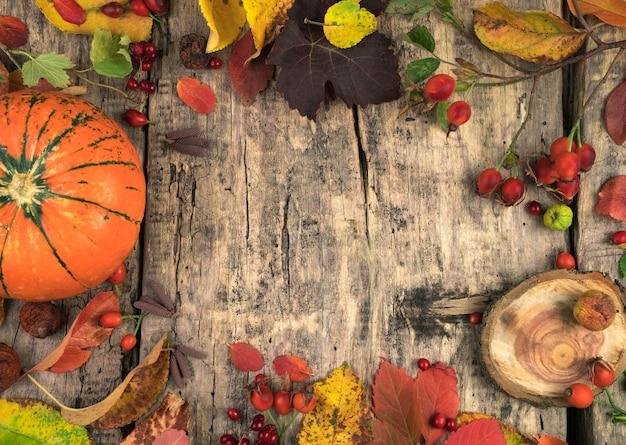 Festosa disposizione autunnale di bacche di zucca e foglie su un tavolo in legno naturale.