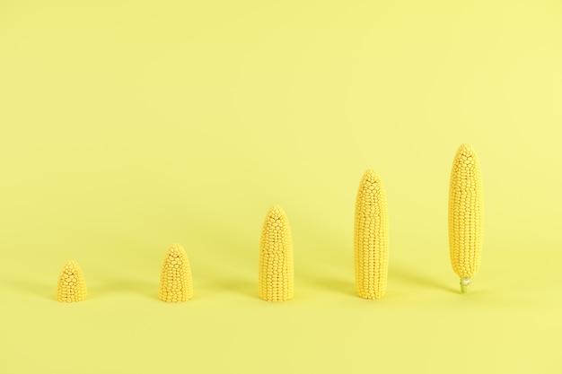 Fette di spiga di grano senza foglie su sfondo giallo pastello