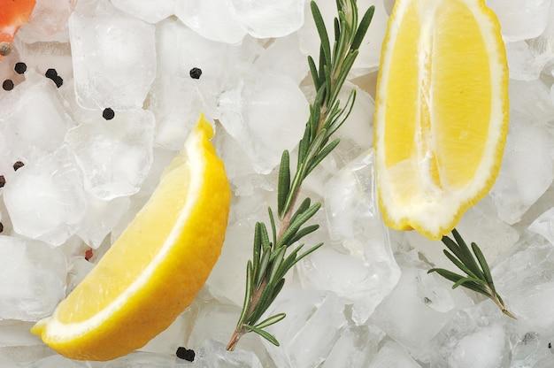 Fette e rosmarino di limone sui cubetti di ghiaccio
