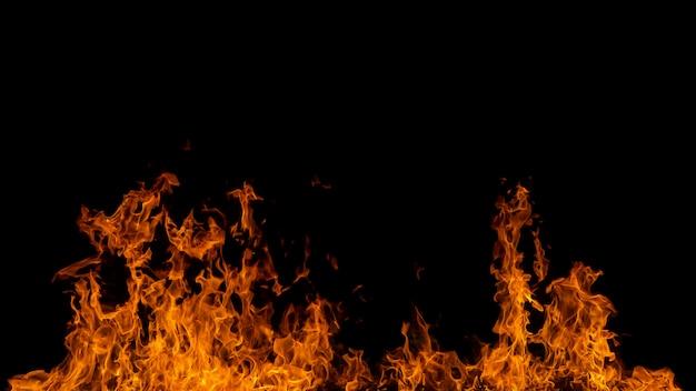 Fiamma del fuoco ardente su fondo nero