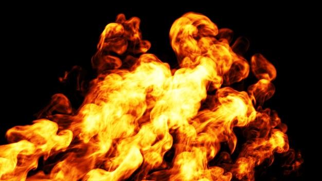Fiamma di fuoco dinamica. 3d.