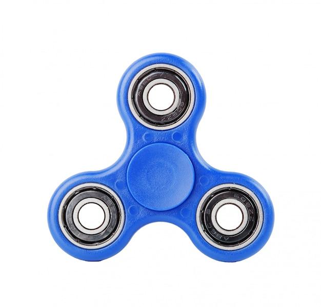 Fidget spinner blu su sfondo bianco