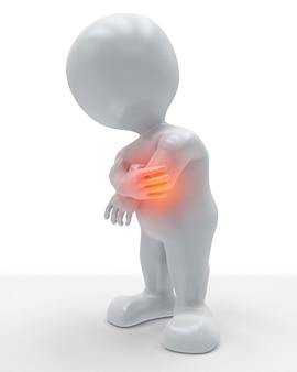 Figura 3d che si tiene il gomito nel dolore