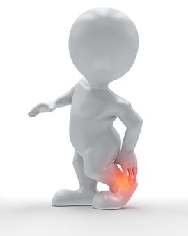 Figura 3d che si tiene la caviglia nel dolore
