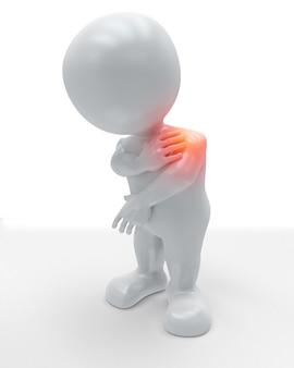 Figura 3d che si tiene la spalla dolorante