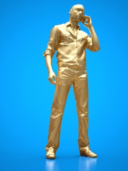 Figura d'oro di un uomo di colore che parla al telefono