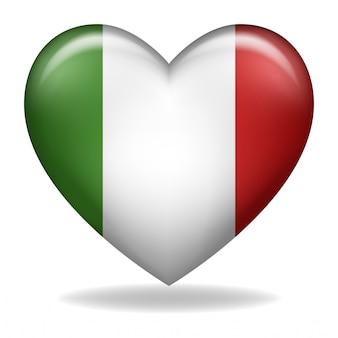 Figura del cuore della bandierina dell'italia su una priorità bassa bianca