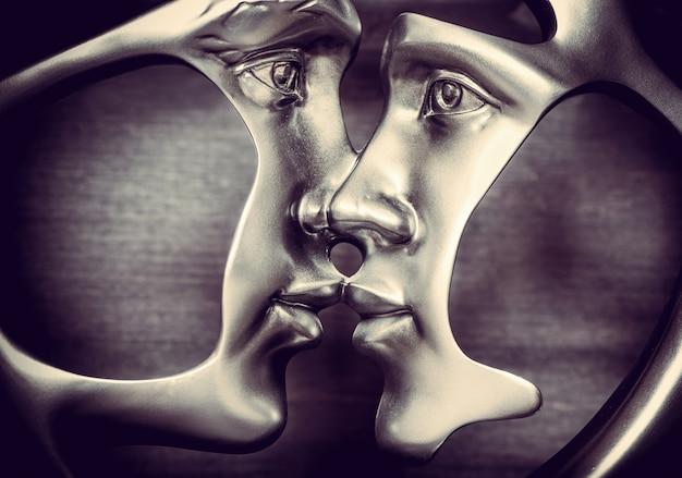 Figura di baci in metallo di una coppia