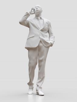 Figura di plastica di un uomo di colore in tuta parlando al telefono