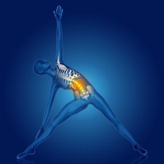 Figura femminile 3d nella posa di yoga con la spina dorsale evidenziata