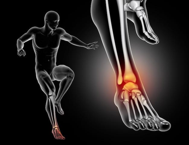 Figura maschile 3d che atterra a piedi con la caviglia evidenziata